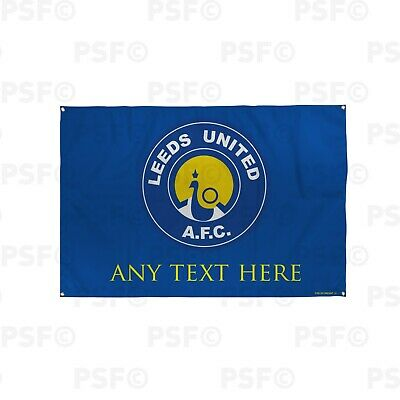 Leeds United FC Official Personalised Peacock Retro Badge Football Flag LB023