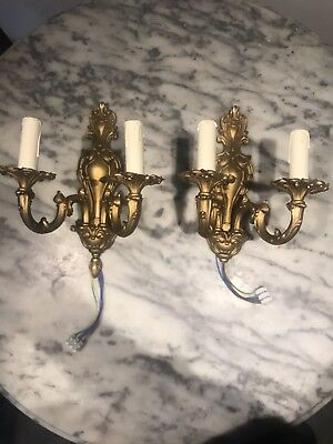 Lamps Antique French Solid And Chiselled Bronze Sconces Alabaster Tulip Decorative Arts