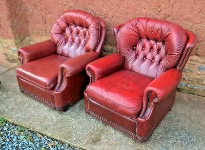 Vintage  Leather Chesterfield Armchairs / Two Chesterfield Style Armchairs