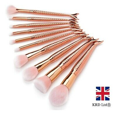 10 Mix MERMAID ROSE GOLD MAKE UP BRUSHES SET Powder Brush Foundation Contour UK