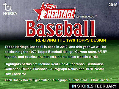 2019 Topps Heritage Baseball Cards Hobby Box - Factory Sealed - Pre-Sale 2/27/19