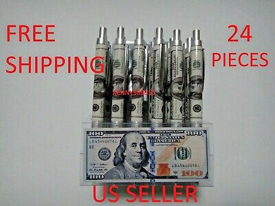 24X-BLACK Ballpoint Benjamin Franklin $100 Bill Ink Pen w. silver clip US Seller
