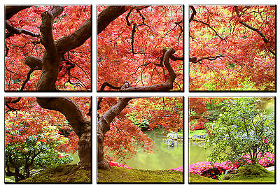 6 Panel Auntumn Red Tree Nature Picture Canvas Wall Art Print Artwork Decor