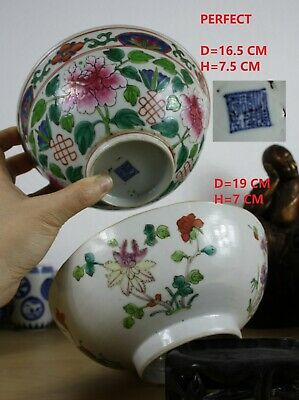 2 Chinese porcelain Famille ROSE BOWLS, DAOGUANG 19Th century D=19&16.5 CM