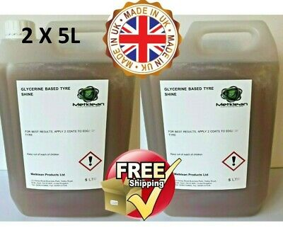 GLYCERINE TYRE SHINE UNIVERSAL DRESSING 2 x 5 L FREE DELIVERY 10 LITRES