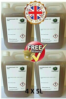 GLYCERINE TYRE SHINE UNIVERSAL DRESSING 4 x 5 L FREE DELIVERY 20 litre