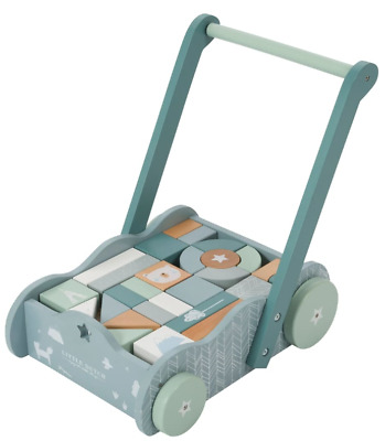 Beautiful Quality Baby Walker First Steps Childrens Push Along Toy With Blocks