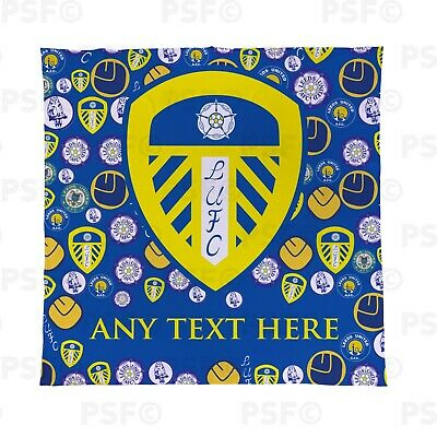 Leeds United FC Official Personalised LUFC Crests All Over Blanket Throw LFB010