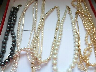 Job Lot Of Mixed Necklaces Strings Faux Pearls 7 Items