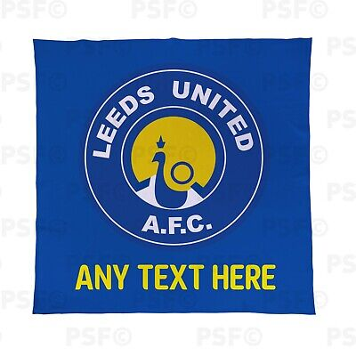 Leeds United FC Official Personalised LUFC Peacock Retro Fleece Blanket LFB014