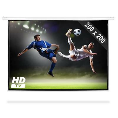 COMPACT HDTV MOTORISED PROJECTOR SCREEN 112 INCH 200 x 200cm  BRACKET NEW CINEMA