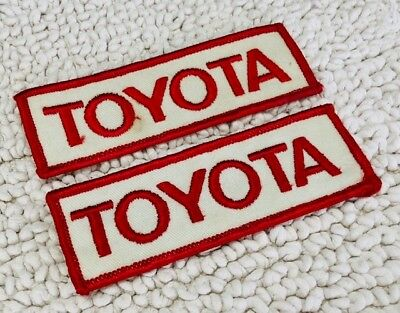 VINTAGE 1970'S TOYOTA FABRIC PATCHES (qty. 2) - white/red - check out photos