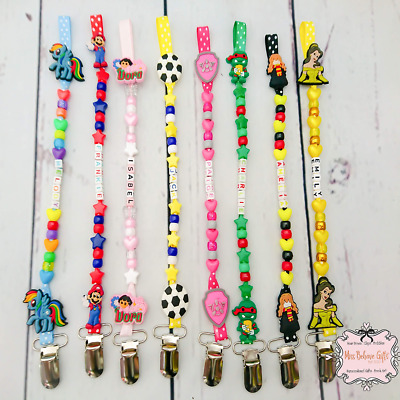 Personalised Character Dummy Clip Pacifier Holder Unicorn Harley Quinn and More