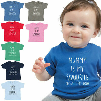 Daddy Mummy Is My Favourite Baby T-Shirt Tee Top Cute Mothers Fathers Day Gift