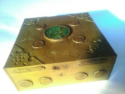 Vintage chinese brass box with carved jade finial
