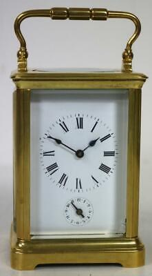 Antique French 8 Day Ormolu & Bevelled Glass Carriage Clock & Bell Alarm Feature