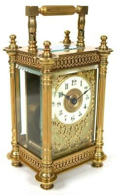 Antique French 8 Day Brass & Fretwork Panel, Mask Dial Timepiece Carriage Clock