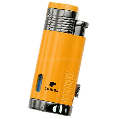 COHIBA Yellow Windproof 3 Torch Jet Flame W/Cigar Punch Cigar Cigarette Lighter