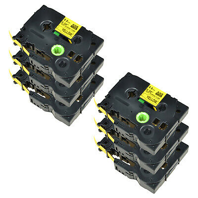 6PK For Brother PT-E300 PT-E550W HSe621 Heat Shrink Tube Black on yellow 8.8mm