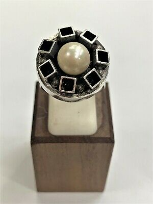 Rare Vintage Isreal Sterling Silver Ornate Squared Sculpted Pearl Ring Size 7