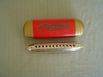 """Vintage Metal Clad  """"chromonica Ii Deluxe""""  In """"c"""" By Hohner With Original Case"""