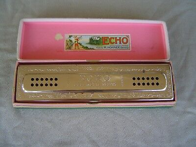 """""""echo"""" Double Sided Tremelo Harmonica Model57/120 In """"c/g"""" By M. Hohner With Box"""