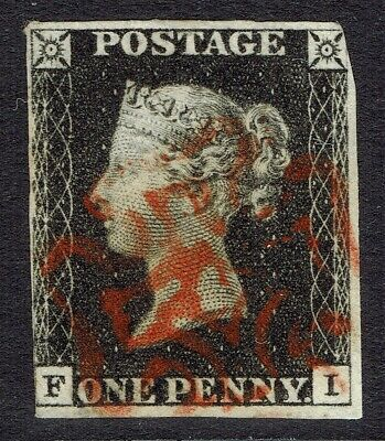 🌟 GB QV SG2 - 1d PENNY BLACK - RED MX CANCEL - FINE USED - Sc #1