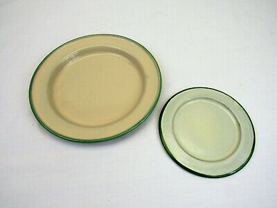 2 Vintage Enamelware Plates Cream And Green 5