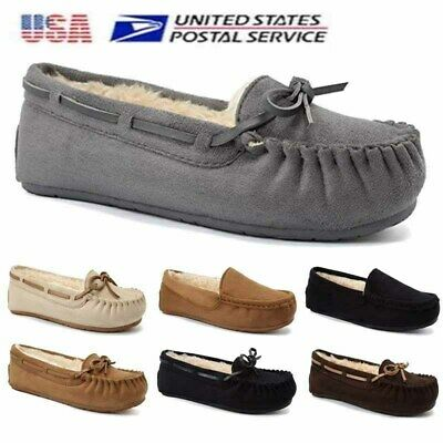 c8519dfc6634 Fanture Women House Slippers Moccasins Loafers Suede Fur Lined Flat Casual  Shoes
