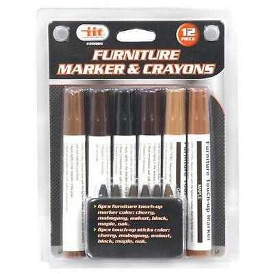 12-Piece Wood Touch-Up Markers and Wax Sticks for Repairing Scratches and Dings