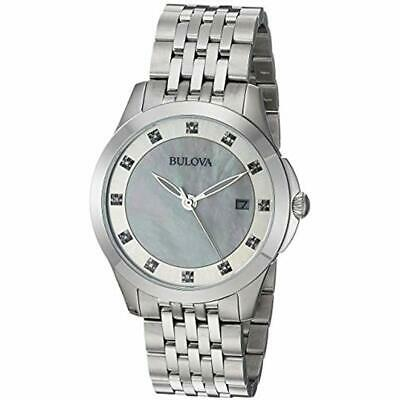 Bulova Women's 96P174XG Quartz Wrist Watches Diamond Accents Silver-Tone 36mm