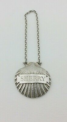 Vintage Silver Scallop Decanter Label Sherry