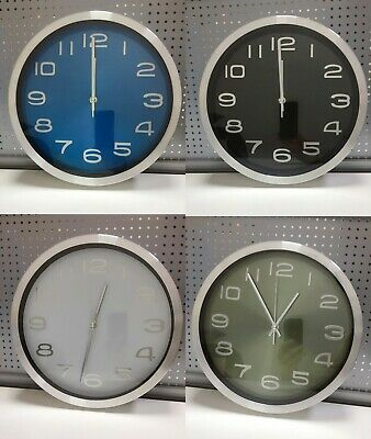 Large Wall Clock Round Numerals Home Decor Stainless Steel Metal 30CM