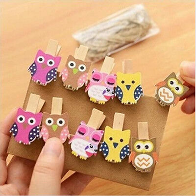 10x Owl DIY Paper Photo Wall Hanging Frame Album Clips With Hemp Rope ON SALE
