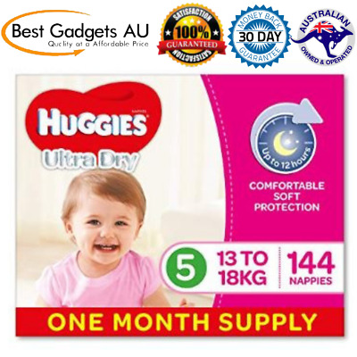 Huggies Ultra Dry Nappies Girls Size 5 Walker 13-18kg 144 Count One-Month Supply