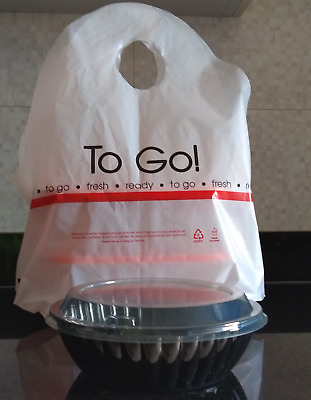 100 Biodegradable Take Out Plastic T-Shirt Bags for Restaurant Carry-Out Food