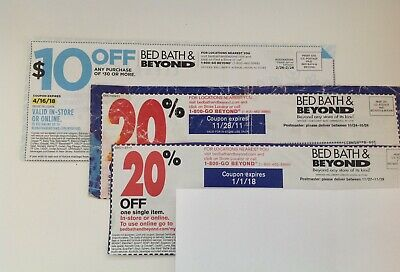 LOT OF 3 coupons BED BATH BEYOND immediate ship $10 OFF $30 better And 20% Off