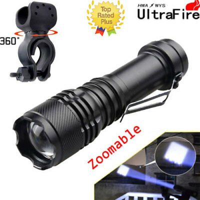 UltraFire Flashlight Zoomable 50000LM Torch 3mode T6LED Compact 14500AA&Bikeclip