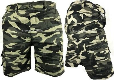 Mens Army Camouflage Cargo Elasticated Shorts Cotton Combat Half Pants M-4XL