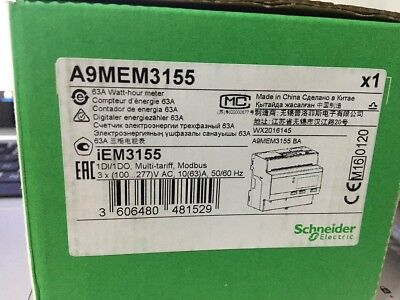 Schneider Electric A9MEM3110 3 Phase kWh meter 63A Pulse Output MID
