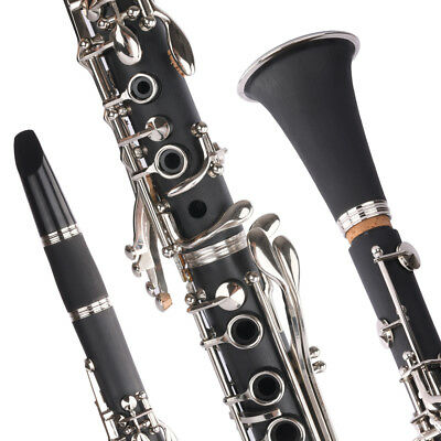 Bb Clarinet Classic Music Orchestra Beginner School Band W/ Case&Care Kit Black