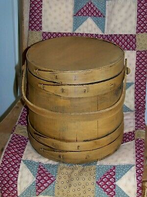 Vintage MED Painted Firkin Sugar Bucket wood Bands Canted Sides Swing Handle