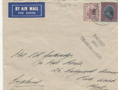 MALAYSIA  to GB air cover 1946 IPOH
