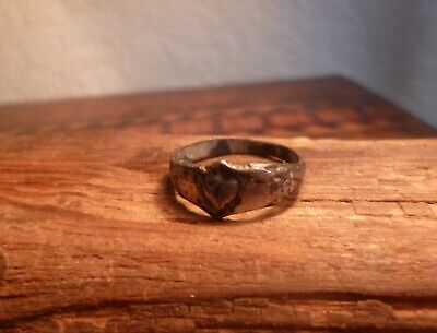 Post Medieval 17th Century Lead Love Ring with Hearts-British Detecting Find