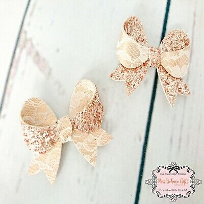 Rose Gold Glitter & Lace Double Sided Hair Bow Clip Small 2 1/2 Inch