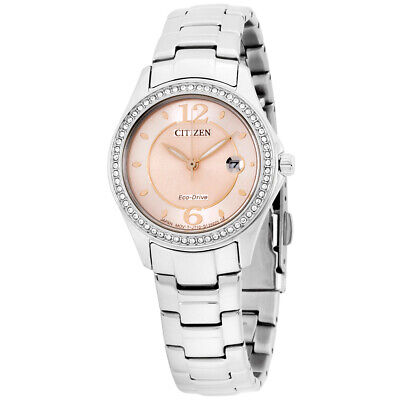 Citizen Silhouette Crystal Pink Dial Stainless Steel Ladies Watch FE1140-86X