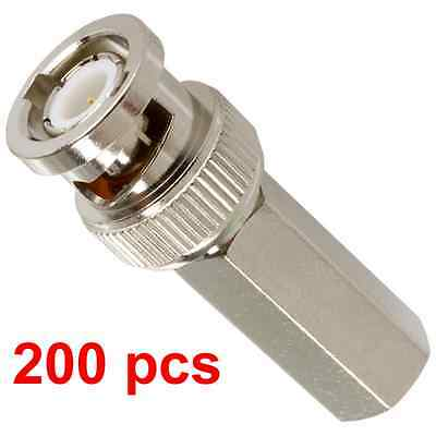 200pcs Twist-on BNC Male RG59 Connector for CCTV cameras