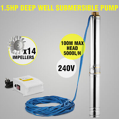 Vevor Borehole Deep Well Submersible Water Pump LONG LIVE + CABLE 1.5 HP