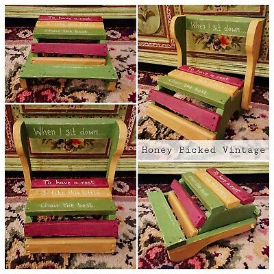 Folding Childs Stool Chair Low armchair vintage retro step gift toilet training