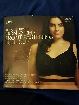 MARKS AND SPENCER BLACK Total Support Front Fastening Full Cup BRA 34C 34 C BNWT